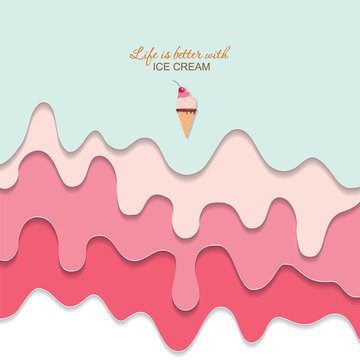 Melted flowing ice cream background. 3d paper cut out layers. Pastel pink and blue. Girly. For notebook cover, greeting card cute design. Vector
