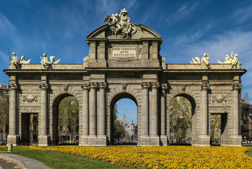 Alcala Door (Puerta de Alcala) in Independence Square. Madrid, Spain