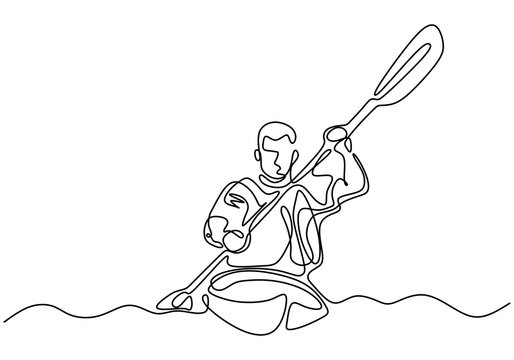 Oar board or Canoe one line continuous drawing. Vector a man doing sport on the sea.