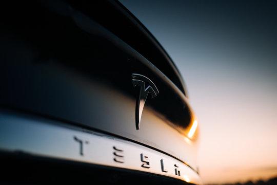 Tesla Model X P100D interior logo at the rear trunk
