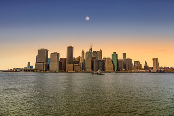 Sunset on Lower Manhattan in New York City