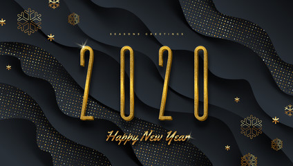 2020 new year logo. Greeting design with golden  number of year and snowflakes on a abstract black layered background. Design for greeting card, invitation, calendar, etc.