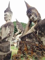 Statues of Lying Buddha in Buddha Park, Laos