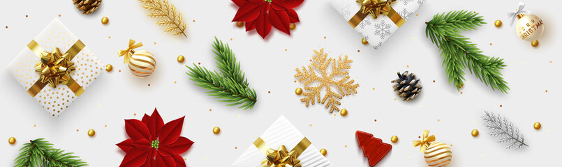 Christmas banner. Background Xmas objects viewed from above, realistic decorative design elements. Merry Christmas and happy New Year. Horizontal poster, website header, flat top view. Fototapete