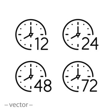 set of time icons, arrow hours 12, 24,48 and 72, delivery service time, work time clock, thin line web symbols on white background - editable stroke vector illustration eps 10
