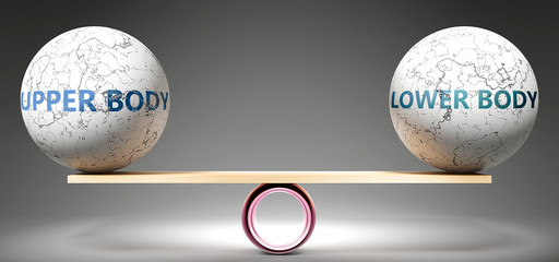 Upper body and lower body in balance - pictured as balanced balls on scale that symbolize harmony and equity between Upper body and lower body that is good and beneficial., 3d illustration