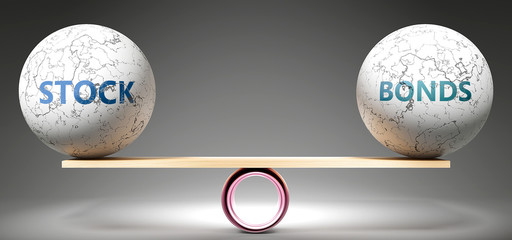 Stock and bonds in balance - pictured as balanced balls on scale that symbolize harmony and equity between Stock and bonds that is good and beneficial., 3d illustration