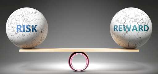 Risk and reward in balance - pictured as balanced balls on scale that symbolize harmony and equity between Risk and reward that is good and beneficial., 3d illustration