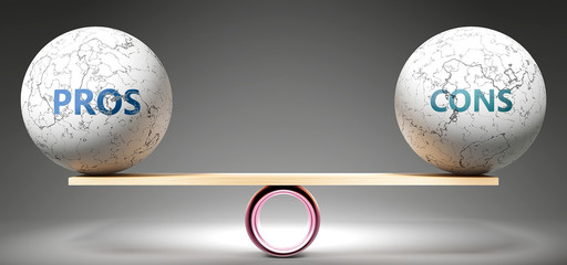 Pros and cons in balance - pictured as balanced balls on scale that symbolize harmony and equity between Pros and cons that is good and beneficial., 3d illustration