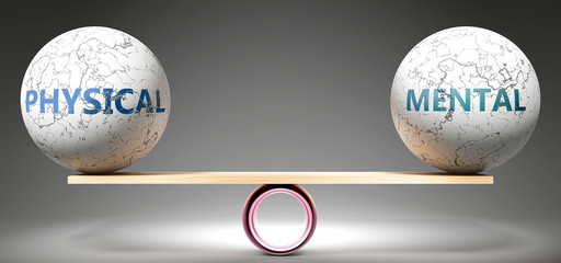 Physical and mental in balance - pictured as balanced balls on scale that symbolize harmony and equity between Physical and mental that is good and beneficial., 3d illustration