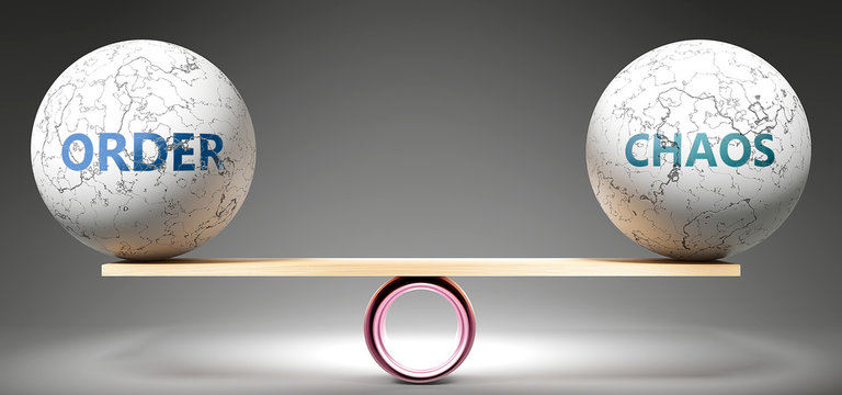 Order and chaos in balance - pictured as balanced balls on scale that symbolize harmony and equity between Order and chaos that is good and beneficial., 3d illustration
