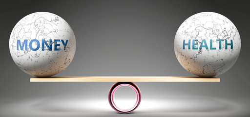Money and health in balance - pictured as balanced balls on scale that symbolize harmony and equity between Money and health that is good and beneficial., 3d illustration