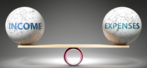 Income and expenses in balance - pictured as balanced balls on scale that symbolize harmony and equity between Income and expenses that is good and beneficial., 3d illustration