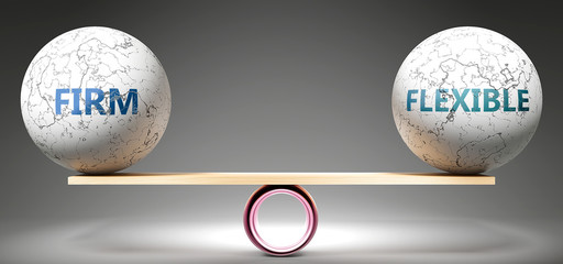 Firm and flexible in balance - pictured as balanced balls on scale that symbolize harmony and equity between Firm and flexible that is good and beneficial., 3d illustration