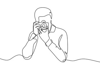 Continuous one line drawing of man taking picture with camera. Photography concept vector minimalist design.