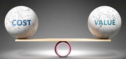 Cost and value in balance - pictured as balanced balls on scale that symbolize harmony and equity between Cost and value that is good and beneficial., 3d illustration
