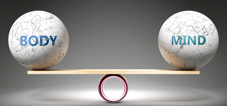 Body and mind in balance - pictured as balanced balls on scale that symbolize harmony and equity between Body and mind that is good and beneficial., 3d illustration
