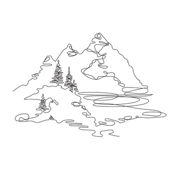 Mountain landscape, drawn in one line. Continuous line. Travels.