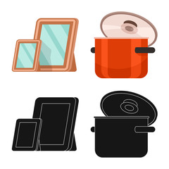 Isolated object of comfort and equipment sign. Set of comfort and furniture vector icon for stock.