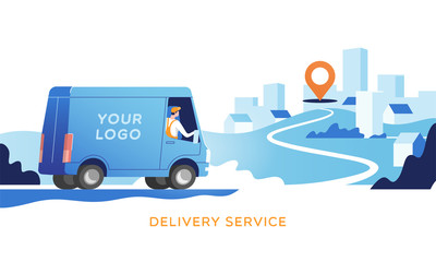 Delivery truck with man is carrying parcels on points. Concept online map, tracking, service. Vector illustration.