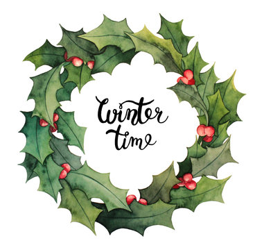 Watercolor holiday wreath with holly plant