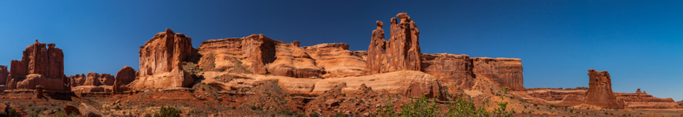 Panorama View of The Three Gossils, Arches National Park, Utah. Wall mural