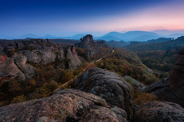 Recess Fitting Gray traffic Magnificent night view of the Belogradchik rocks in Bulgaria