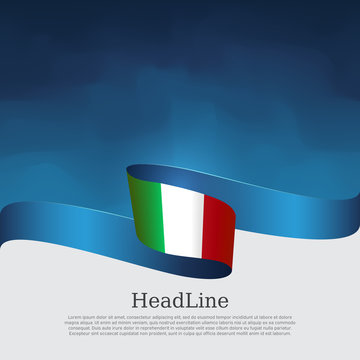 Italy flag background. Wavy ribbon color flag of italy on a blue white background. National poster. Vector tricolor design. State italian patriotic banner, flyer, cover