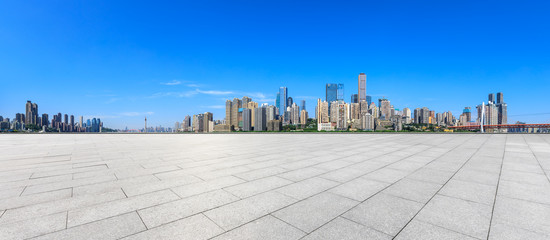 Empty floor and modern city financial district skyline in Chongqing,China. Fotomurales