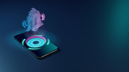 3D rendering neon holographic phone symbol of alarm icon on dark background