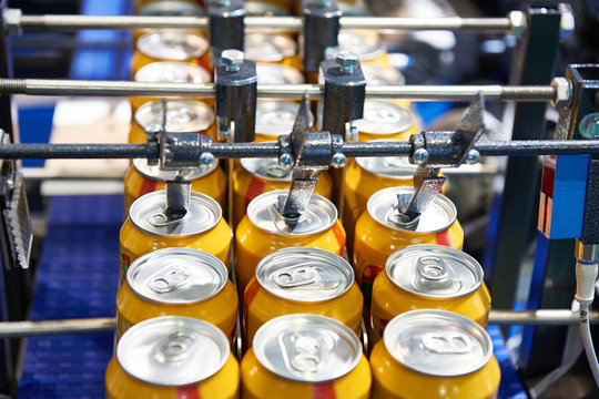Beer can conveyor at factory