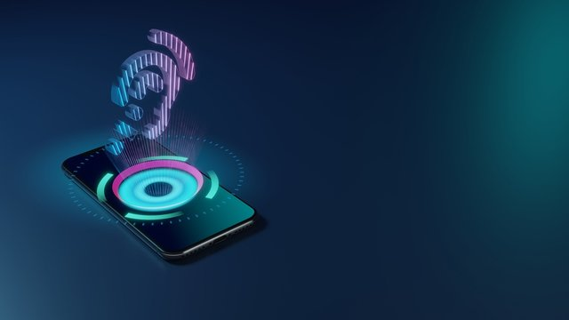 3D rendering neon holographic phone symbol of assistive listening systems icon on dark background