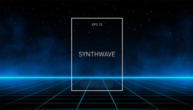 Synthwave blue cyber laser grid with glowing fog and horizon on starry space background. Design for poster, cover, wallpaper, web, banner, etc.