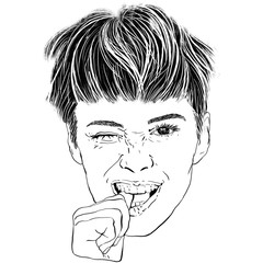 Black and white hand-drawn illustration of human emotions, close up portrait of a young brunette woman with a short haircut who winks, smiles and bites her thumb finger, isolated on a white background