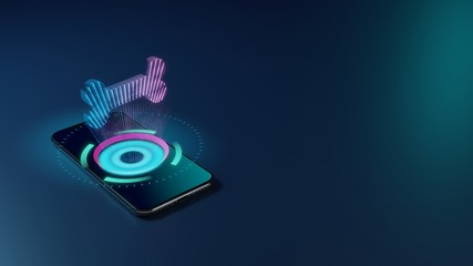 3D rendering neon holographic phone symbol of bone icon on dark background