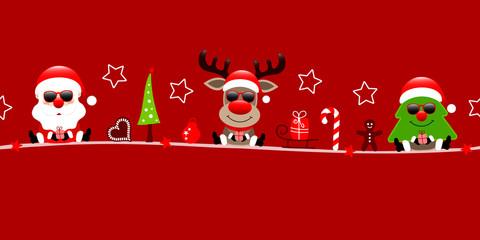 Wall Mural - Banner Santa Rentier Und Baum Sonnenbrille Weihnachten Icons Rot