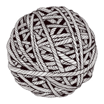 Illustration of a woolen ball of yarn, thread. White and black graphics. Close-up. Vintage engraving style. Hand drawing sketch isolated on a white background. Template for logo design, tattoos etc.