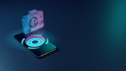 3D rendering neon holographic phone symbol of camera icon on dark background