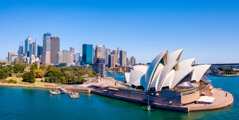 Beautiful aerial view of the Sydney Opera house by the bay in Australia. Panoramic view.
