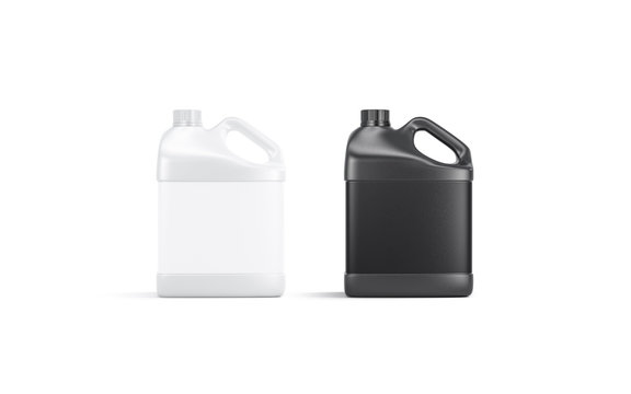 Blank black and white plastic canister mockup stand isolated