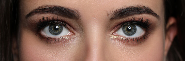 Letterbox view of detailed pretty amazing female eyes