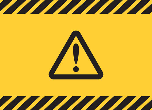 Warning caution attention triangle sign on yellow banner background.
