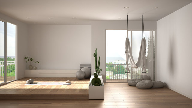 Empty yoga studio interior design, open space with mats, hammock, pillows and accessories, succulent plants, parquet, big panoramic windows, ready for yoga practice, meditation room