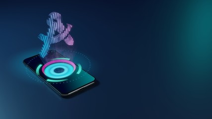 3D rendering neon holographic phone symbol of drafting compass icon on dark background