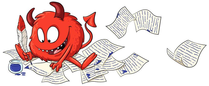 Niedlicher schreibender Teufel - Vektor-Illustration