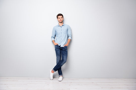 Full length photo of charming attractive rich wealthy millionaire man sweet dream of all female college students stand enjoy put hands in pockets wear good look outfit isolated grey color background