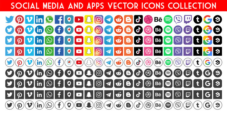 Facebook, twitter, instagram, youtube, snapchat, pinterest, whatsap, linkedin, google, vimeo - Collection of popular contact social icons.