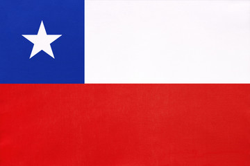 Photo sur Plexiglas Amérique du Sud Chile national fabric flag, textile background. Symbol of international world South America country.