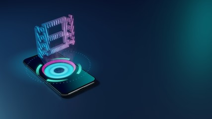 3D rendering neon holographic phone symbol of film icon on dark background