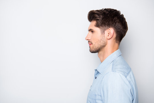 Profile side photo of attractive man leader real executive boss in enterprise look listen to his employees wear style stylish clothes isolated over grey color background
